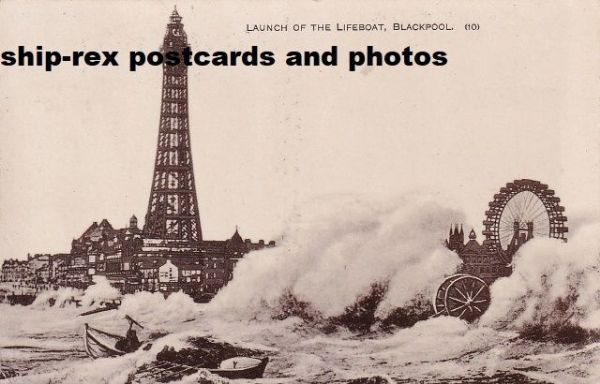 Blackpool (Lancs) lifeboat launch, postcard